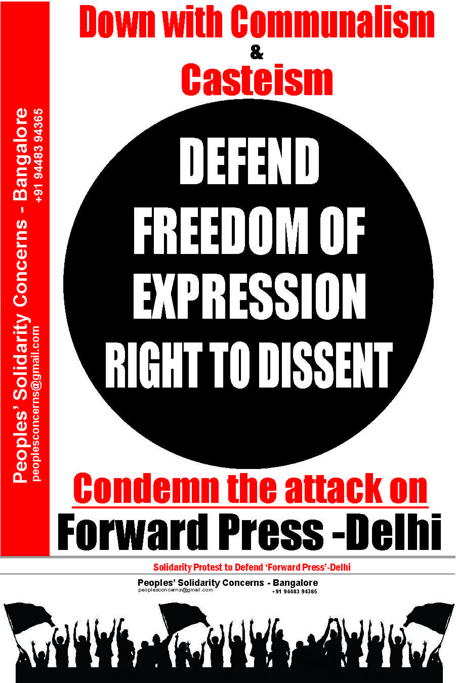MASS PROTEST TO DEFEND 'FORWARD PRESS' -DELHI
